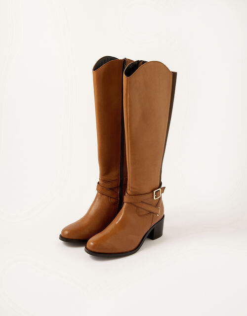 Lisa Leather Buckle Riding Boots, Tan (TAN), large