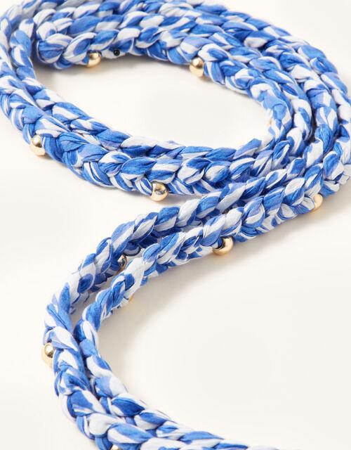 Printed Braided Fabric Belt, , large