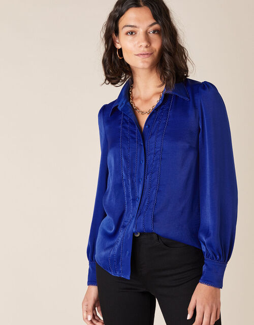 Peggy Lace Trim Blouse, Blue (BLUE), large
