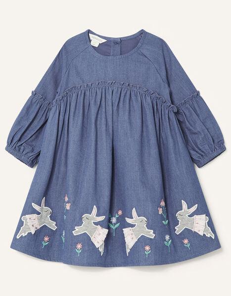 Baby Bunny Denim Dress Blue, Blue (BLUE), large