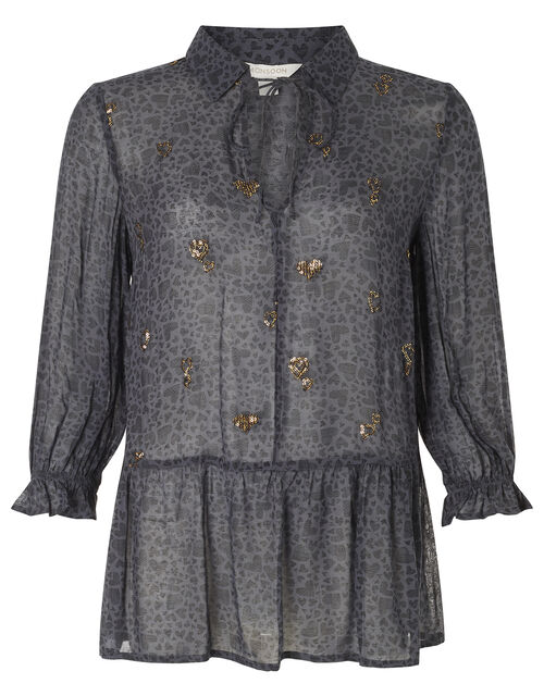 Heart Print Sequin Blouse, Grey (GREY), large