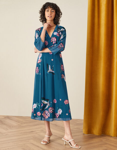 Abby Embroidered Midi Dress Teal, Teal (TEAL), large