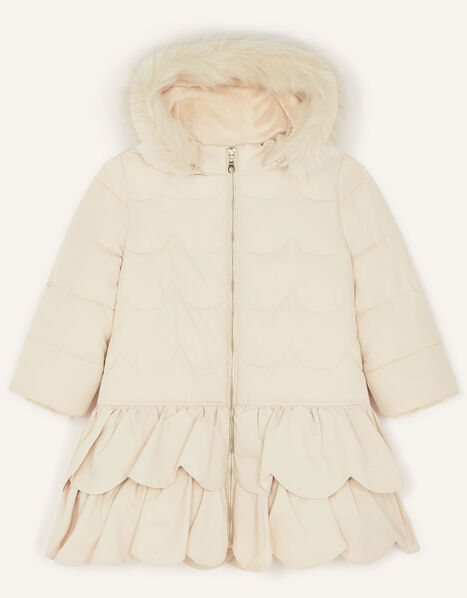 Frill Padded Coat With Hood Natural, Natural (CHAMPAGNE), large
