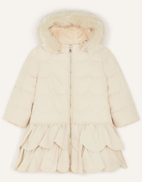 Frill Padded Coat With Hood, Natural (CHAMPAGNE), large
