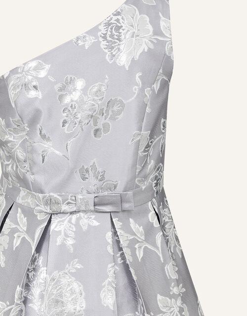 One-Shoulder Floral Jacquard Prom Dress, Silver (SILVER), large