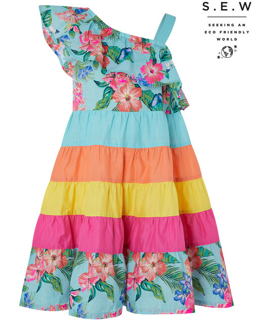 Fergie Flower Colourful Dress in Organic Cotton, Blue (TURQUOISE), large