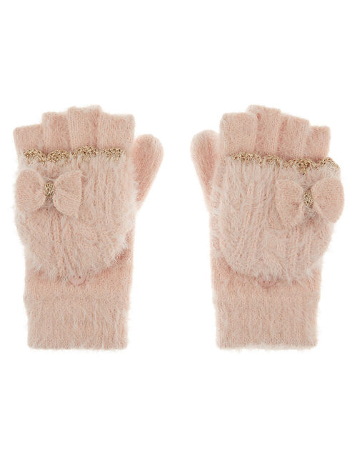 Poppy Bow Fluffy Knit Capped Gloves, Pink (PINK), large