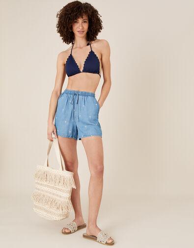 Palm Tree Shorts in LENZING™ TENCEL™  Blue, Blue (DENIM BLUE), large