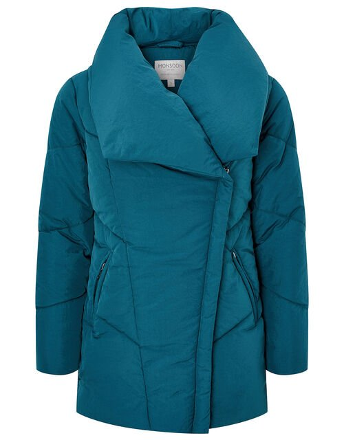 Dhalia Short Padded Coat in Recycled Fabric, Teal (TEAL), large