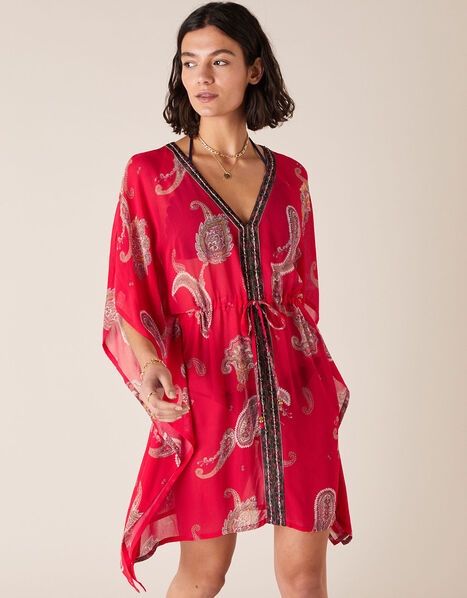 Heritage Print Kaftan in Sustainable Viscose Red, Red (RED), large
