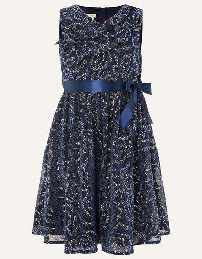 Remmel Sequin Sparkle Frill Dress  Blue, Blue (NAVY), large