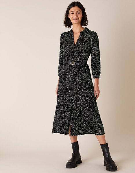 Ditsy Print Shirt Dress with LENZING™ ECOVERO™ Black, Black (BLACK), large