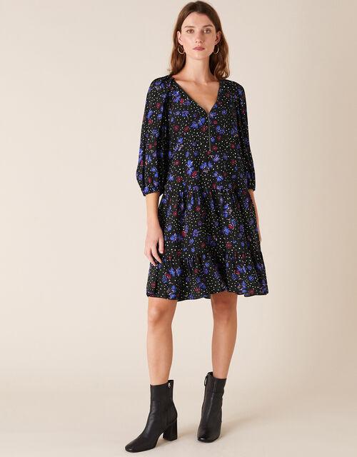 Floral Zip Neck Short Dress, Black (BLACK), large