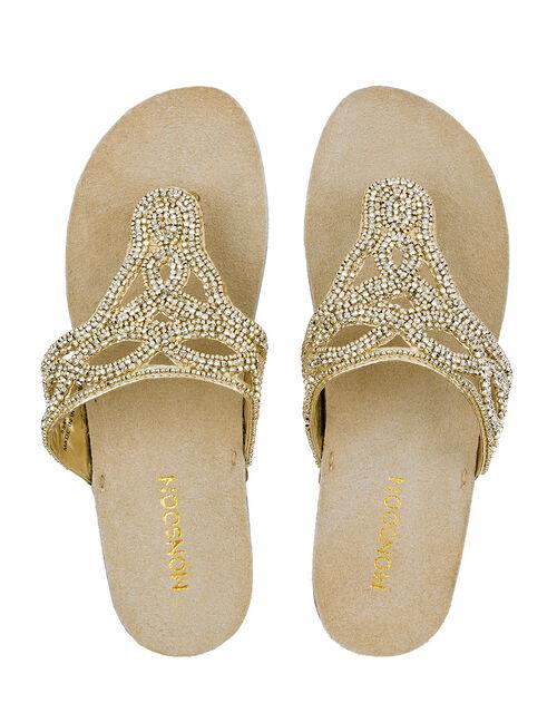 Metallic Bead Sandals, Gold (GOLD), large
