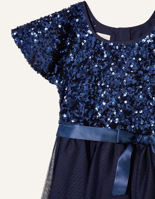 Truth Sequin Flutter Sleeve Dress, Blue (NAVY), large