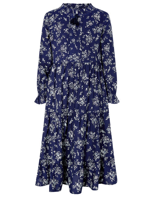 Rose Floral Long Sleeve Dress in LENZING™ ECOVERO™, Blue (NAVY), large