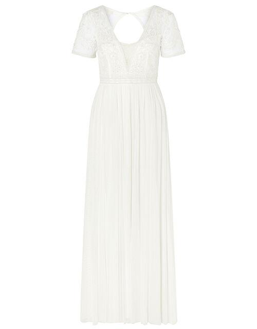 Beth Beaded Floral Plunge Bridal Dress, Ivory (IVORY), large