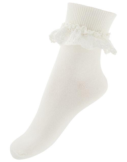 Olivia Bow Lace Sock, Ivory (IVORY), large