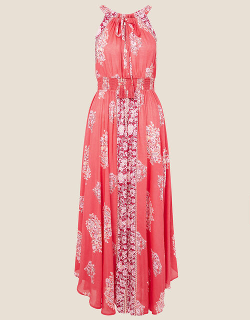 Tie Front Print Dress, Red (RED), large