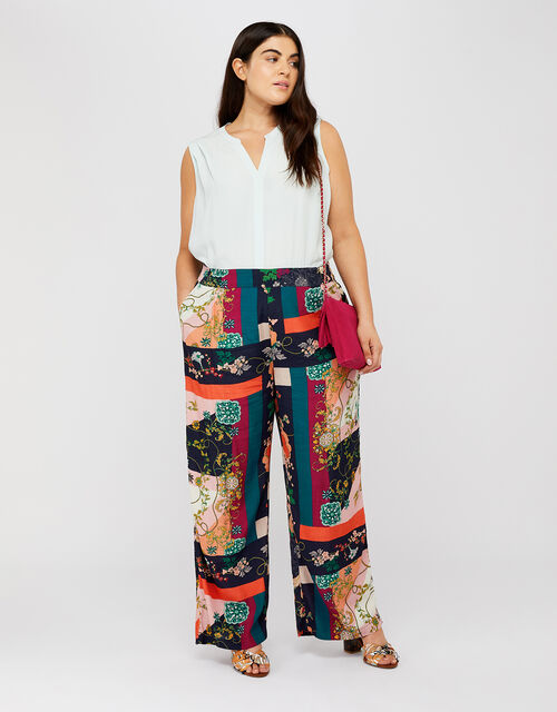 Paloma Printed Trousers, Navy, large