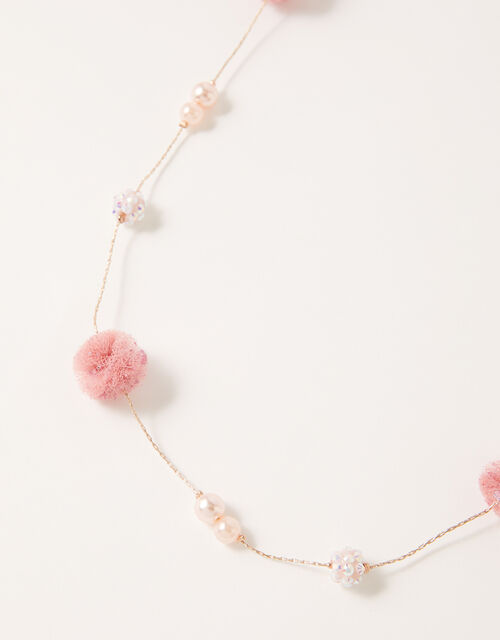 Flower and Pearl Long Necklace, , large