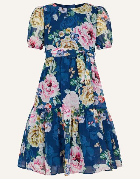 Roseanna Floral Chiffon Dress Blue, Blue (NAVY), large