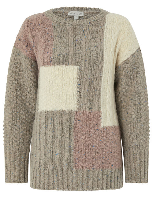 Pippa Patchwork Jumper, Brown, large