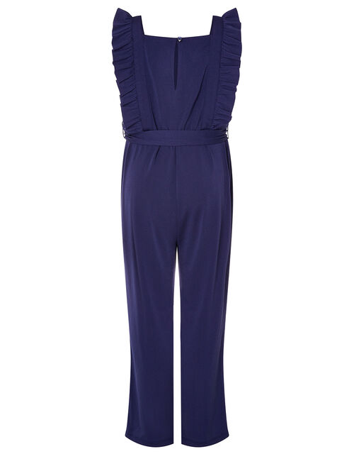 Sequin Frill Jumpsuit, Blue (NAVY), large