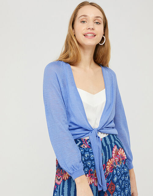 Libby Tie Shrug in Linen Blend, Blue (BLUE), large