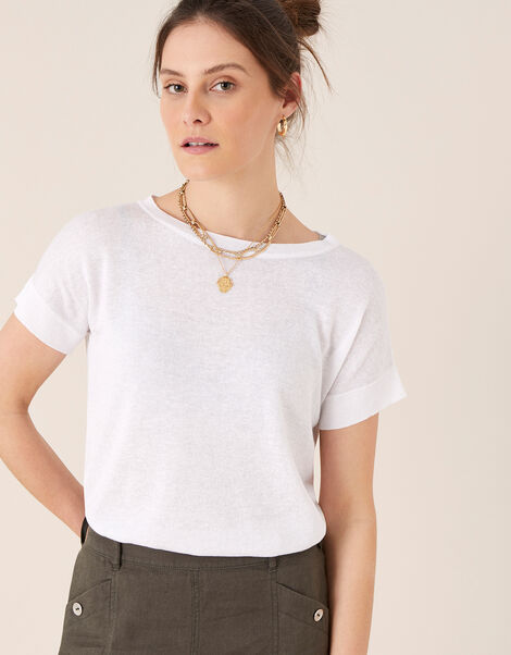 Knit T-Shirt in Linen Blend Ivory, Ivory (IVORY), large