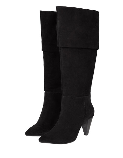 Slouch Suede Thigh Boots, Black (BLACK), large
