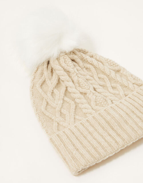 Cable Knit Pom-Pom Beanie, , large
