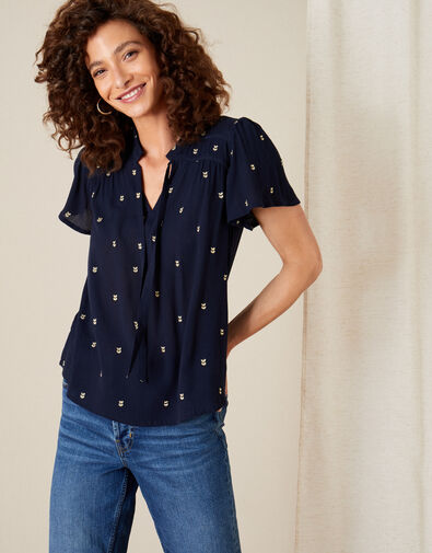 Embroidered Tie Neck Top Blue, Blue (NAVY), large