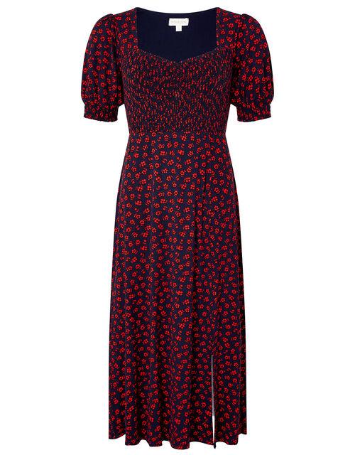 Ditsy Floral Jersey Dress, Blue (NAVY), large