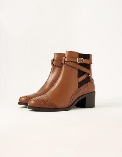 Bethan Leather Brogue Boots Tan, Tan (TAN), large
