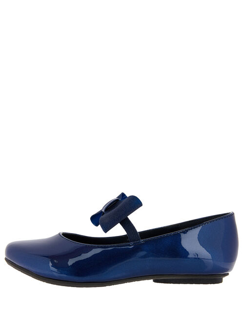Aubree Patent Bow Ballerina Flats, Blue (NAVY), large