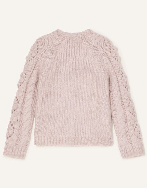 Chunky Bobble Cardigan, Pink (PALE PINK), large
