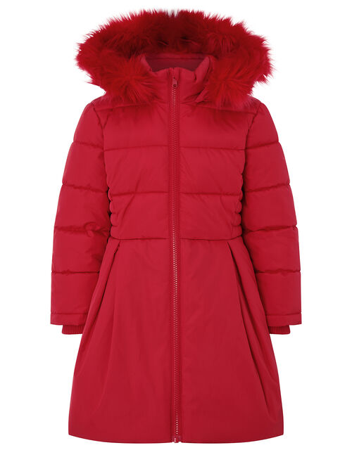Flared Padded Coat with Recycled Fabric, Red (RED), large