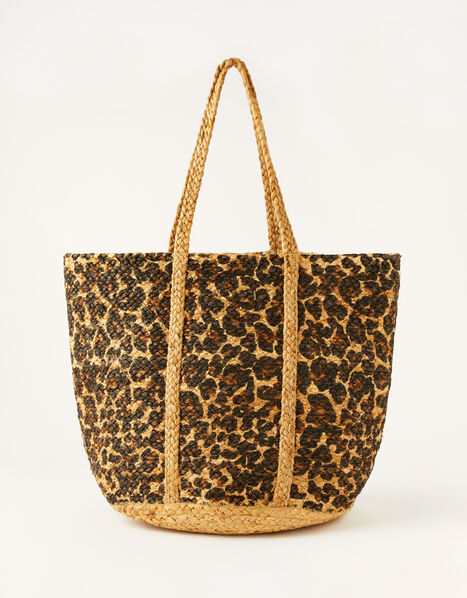 Animal Print Jute Shopper Bag, , large