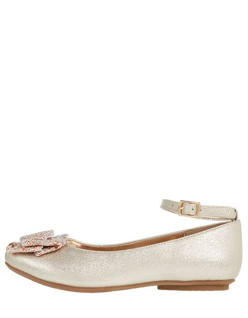 Giselle Glitter Bow Ballerina Shoes, Gold (GOLD), large