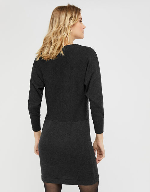 Amy Knit Dress with Wool and Recycled Polyester, Grey (CHARCOAL), large