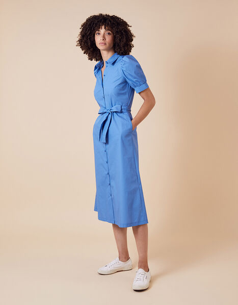 Plain Shirt Midi Dress Blue, Blue (BLUE), large