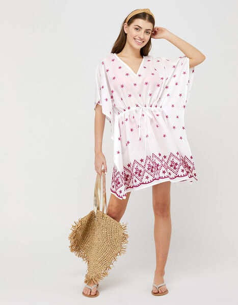 Eleanor Embroidered Kaftan in Organic Cotton, , large