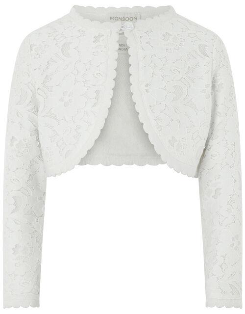 Baby Eliona Cropped Lace Cardigan, White (WHITE), large
