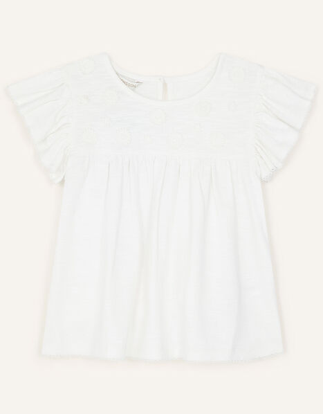 Lace Flower Jersey Top Ivory, Ivory (IVORY), large