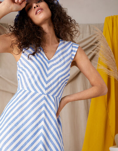 Stripe Midi Dress in Linen Blend Ivory, Ivory (IVORY), large