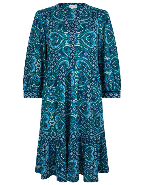 Heart Print Dress with Organic Cotton, Blue (BLUE), large
