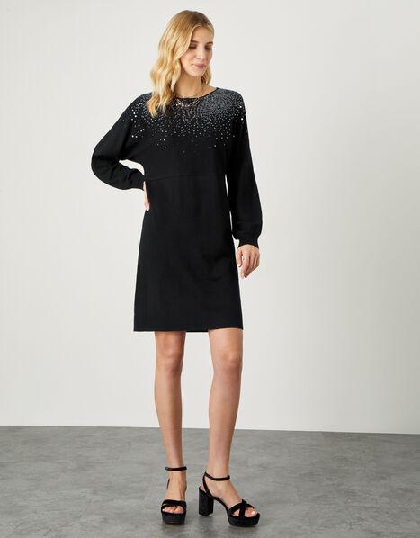 Sequin Scatter Jumper Dress Black, Black (BLACK), large