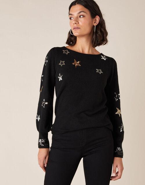 Sequin Star Knit Jumper, Black (BLACK), large