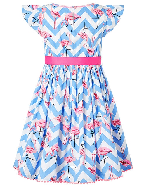 Adrienne Flamingo Dress in Organic Cotton, Blue (BLUE), large